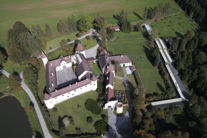 Luftbild Schloss mit Greifvogelzentrum