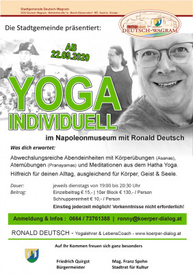 Plakat: Yoga mit Ronald Deutsch / Herbst 2020 in Deutsch-Wagram