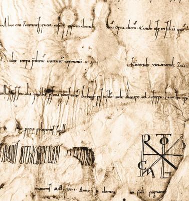 Ausschnitt aus der Originalurkunde Kaiser Heinrichs II. vom 14. November 1021