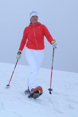 Christa Strametz beim Schneeschuhwandern