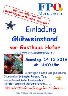 Plakat Glühweinstand FPÖ