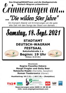 """Plakat: SingingDREAMTeam Konzert """"Erinnerungen an ..."""" am 18.09.2021 in Deutsch-Wagram"""