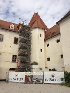 Baustelle: Restaurierung der Wendeltreppe